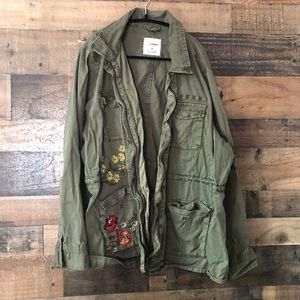 Sonoma Army Green Floral Embroidered Khaki Jacket